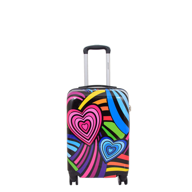 Cabin Size Suitcase Multicolour Hearts Travel Bag 4 wheel Hand Luggage A20S Front