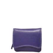 Womens Trifold Genuine Leather Purse Compact Clutch Style Wallet AL16 Purple Front