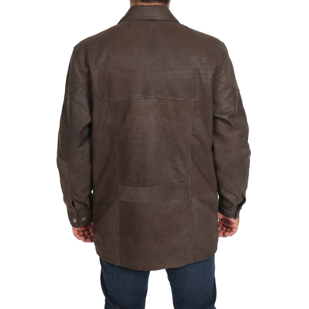 Gents Classic Soft Leather Parka Overcoat Clive Brown Back