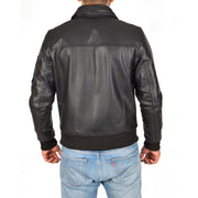 Mens Real Cowhide Bomber Leather Jacket Pilot Jacket Lance Black Back