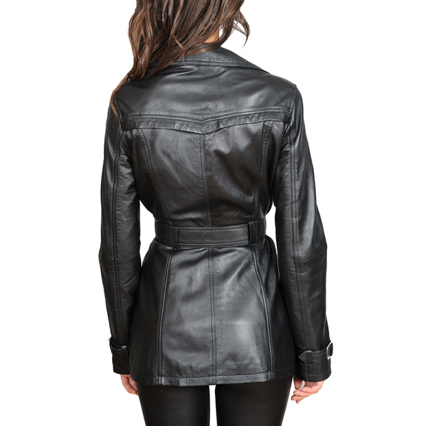 Womens Soft Leather Trench Coat Olivia Black back view