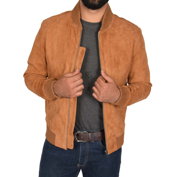 Mens Soft Goat Suede Bomber Varsity Baseball Jacket Blur Tan Open