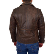 Mens Real Leather Biker Jacket Vintage Copper Rust Rub Off Slim Fit Style Max Back