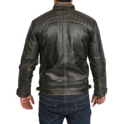 Gents Washed Biker Leather Jacket Django Rub Off Back