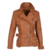 Womens Biker Leather Jacket Slim Fit Cut Hip Length Coat Coco Tan Front 3