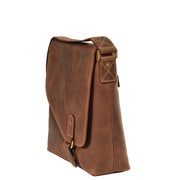 Real Leather Shoulder Messenger Vintage Organiser Flight Bag A761 Tan Side