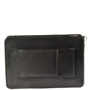 Mens Leather Wrist Bag Mobile Money Clutch A7 Black Back