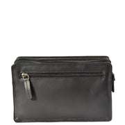 Soft Leather Wrist Bag BLACK Travel Clutch Pouch Grab Handbag A33 Back