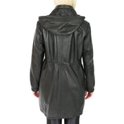 Ladies Duffle Leather Coat 3/4 Long Detachable Hood Classic Parka Jacket Liza Black Back 1