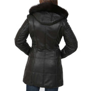 Womens Quilted 3/4 Long Parka Leather Coat with Hood Kelly Black Back 1