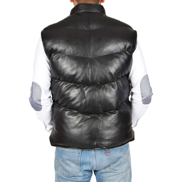 Mens Quilted Leather Waistcoat Body Warmer Gilet Jeff Black Back
