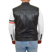 Mens Biker Leather Jacket Black White Sleeves Badges Stripes Sports Style Gears Back
