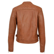 Womens Soft Tan Leather Biker Jacket Designer Stylish Fitted Quilted Celeste Back