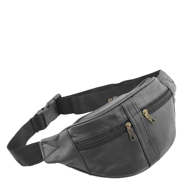Real Black Leather Bum Bag Travel Pouch Mobile Waist Belt Pack Adam