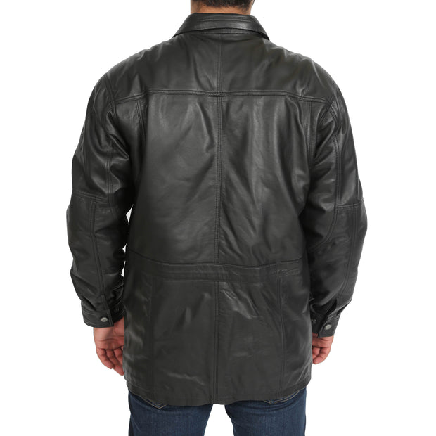 Gents Classic Soft Leather Parka Car Coat Steve Black back view