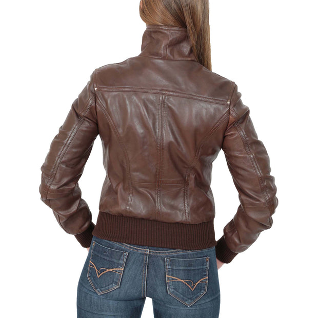 Womens Slim Fit Bomber Leather Jacket Cameron Brown Back