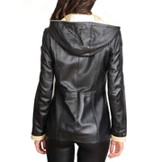 Womens Real Leather Blazer Jacket Mid Length Hooded Coat Eva Black Back