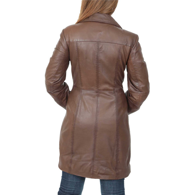 Womens 3/4 Button Fasten Leather Coat Cynthia Brown Back