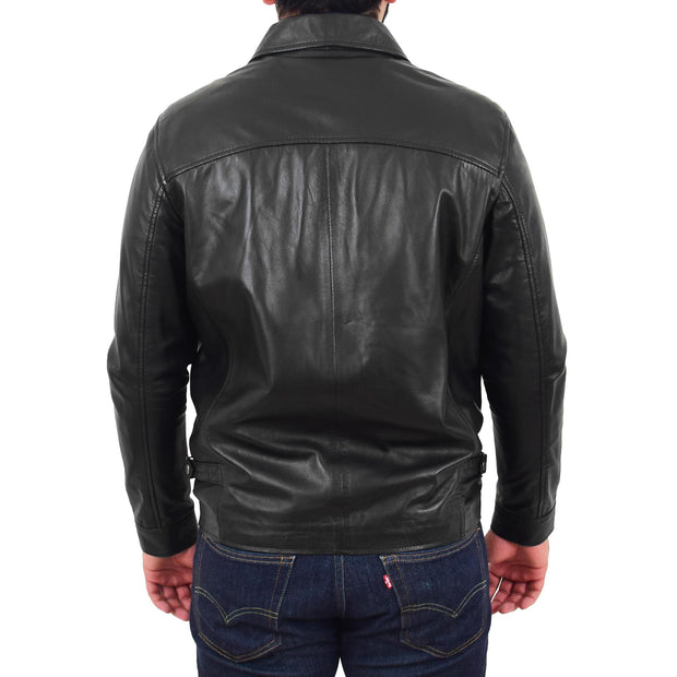 Mens Leather Jacket Genuine Soft Black Zip Fasten Box Style Sean Back
