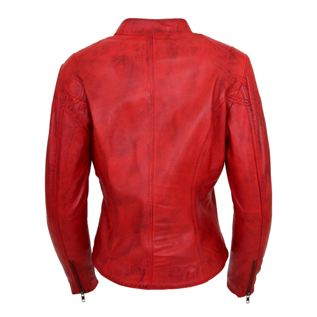 Womens Fitted Leather Biker Jacket Casual Zip Up Coat Jenny Red Back