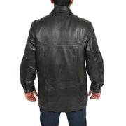 Gents Classic Soft Leather Parka Overcoat Clive Black back view