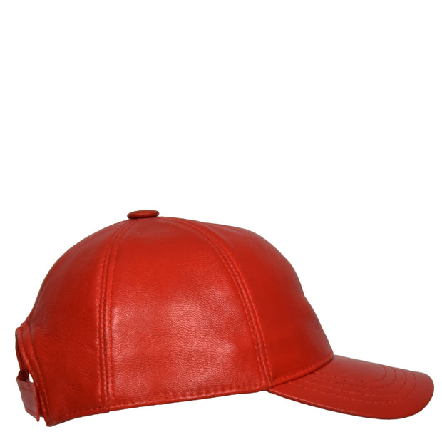 Genuine Leather Baseball Cap Sports Casual Viper Red Side