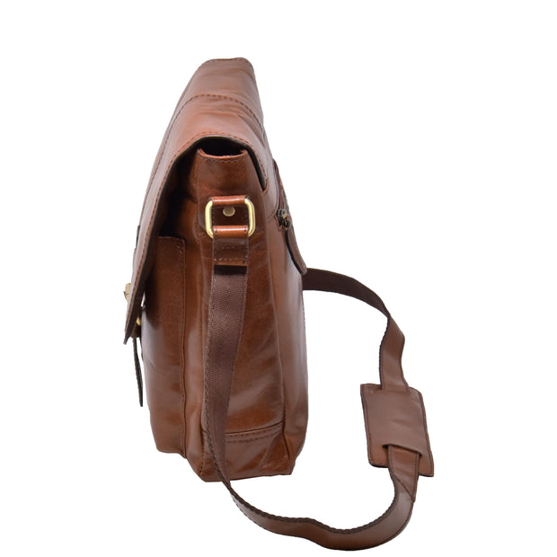 Mens Real Leather Cross body Messenger Bag A224 Chestnut Side