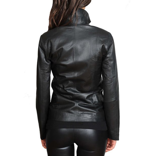 Womens Classic Fitted Biker Real Leather Jacket Nicole Black Back