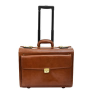 Exclusive Real Cognac Leather Pilot Case Wheeled Cabin Bag Briefcase London Front 1
