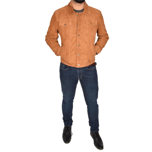 Mens Real Soft Goat Suede Trucker Denim Style Jacket Chuck Tan Full