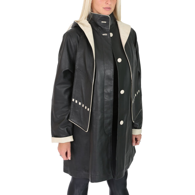 Ladies Parka Leather Coat Black Beige Trim Hooded with Scarf Dress Jacket Pat Front 1