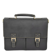 Mens REAL Leather Briefcase Vintage Look Satchel Shoulder Bag A167 Brown Front