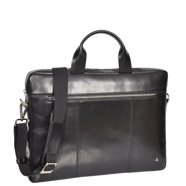 Laptop Briefcase Real Leather Business Bag Messenger Satchel Black Nice