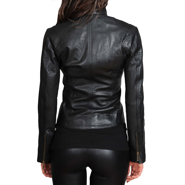 Womens Fitted Leather Biker Jacket Casual Zip Up Coat Jenny Black Back