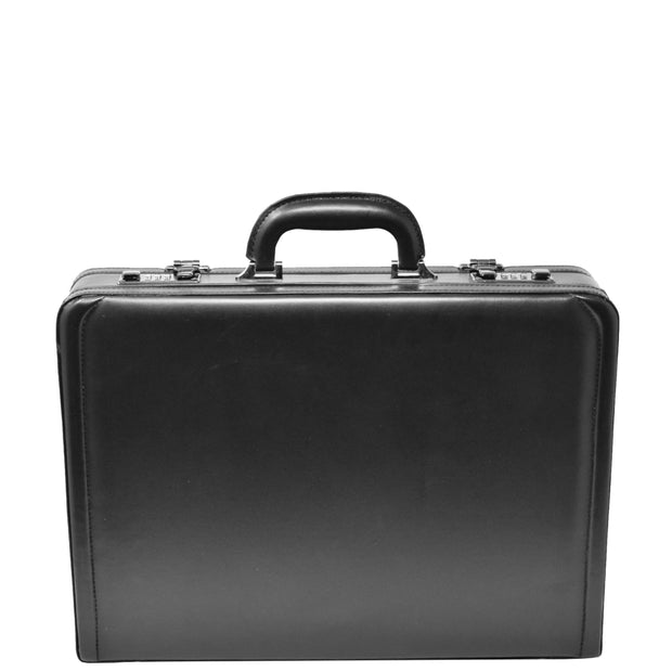 Business Executive Black Leather Look Briefcase Attache BC23 Front