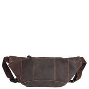Real Leather Bum Bag Money Mobile Belt Waist Pack Travel Pouch A072 Dark Brown Back