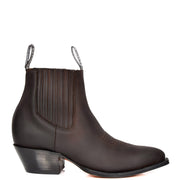 Real Leather Pointed Toe Chelsea Ankle Boots AMA79 Brown Side 1