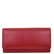 Womens Soft Leather Clutch Purse Envelope Style Wallet AVT3 Red Front