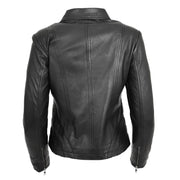 Ladies Soft Leather Jacket Fitted Collared Zip Fasten Biker Style Leah Black Back