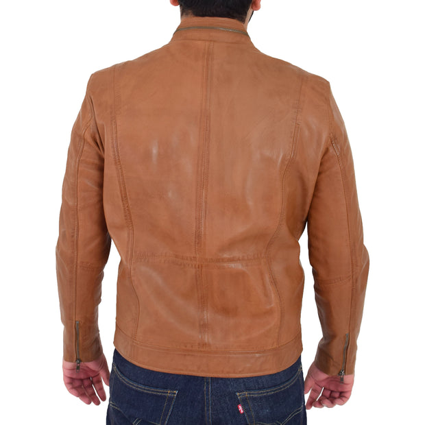 Mens Biker Leather Jacket Cognac Soft Nappa Fitted Standing Collar Tats Back