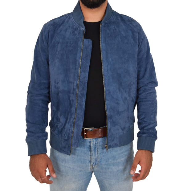 Mens Soft Goat Suede Bomber Varsity Baseball Jacket Blur Blue Open 3