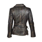 Womens Biker Leather Jacket Slim Fit Cut Hip Length Coat Coco Rub Off Back