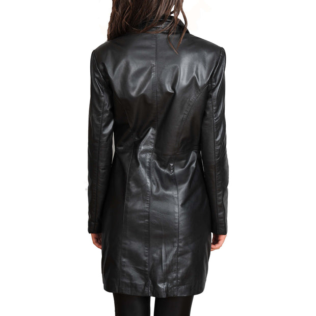 Ladies Real Leather 3/4 Length Fitted Jacket Rachel Black Back
