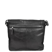Mens Messenger Leather Bag Casual Office Students Man Bag Barney Black Back