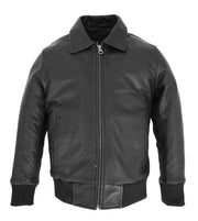 Kids Real Black Leather Bomber Jacket Boys Childrens Soft Zip Up Coat 2-12 Years