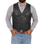 Mens Full Leather Waistcoat Gilet Traditional Smart Vest King Black Front 1