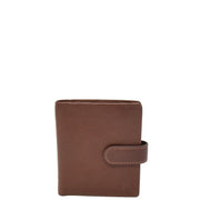 Mens Snap Closure Purse Real Leather Wallet AL31 Brown Front