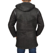 Mens Genuine Sheepskin Duffle Coat 3/4 Long Hooded Jacket Ace Black Back 1