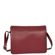 Womens RED Leather Shoulder Bag Classic Casual Cross Body Satchel A54 Front