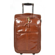 Real Leather Suitcase Cabin Trolley Hand Luggage A0518 Chestnut Front